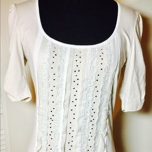 WHBM Ribbon, Lace, and Stud Embellished Top
